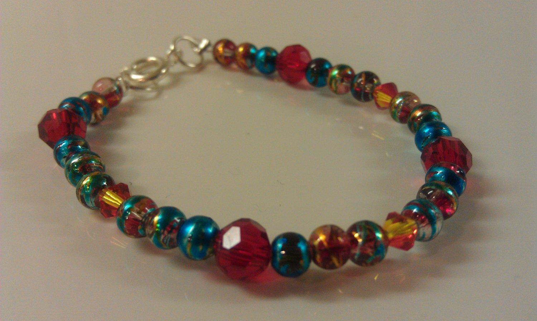 6-12 Months: Metallic Blue Glass & Crystal Baby or Toddler Bracelet