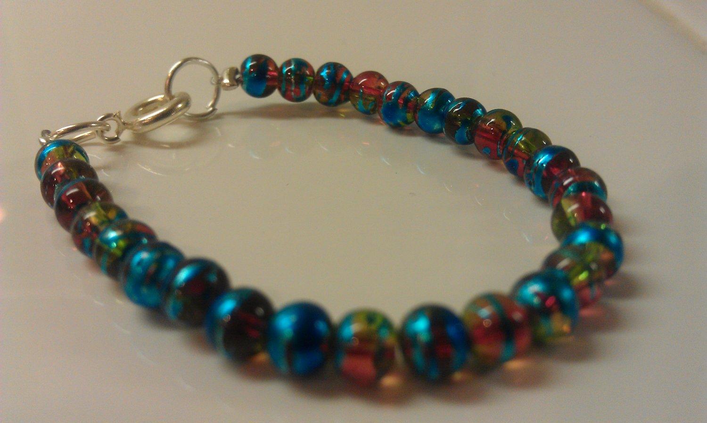 0-6 Months: Metallic Blue Czech Glass Baby Bracelet
