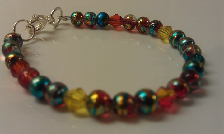 4 Years: Metallic Blue Czech Glass & Crystals Toddler Bracelet