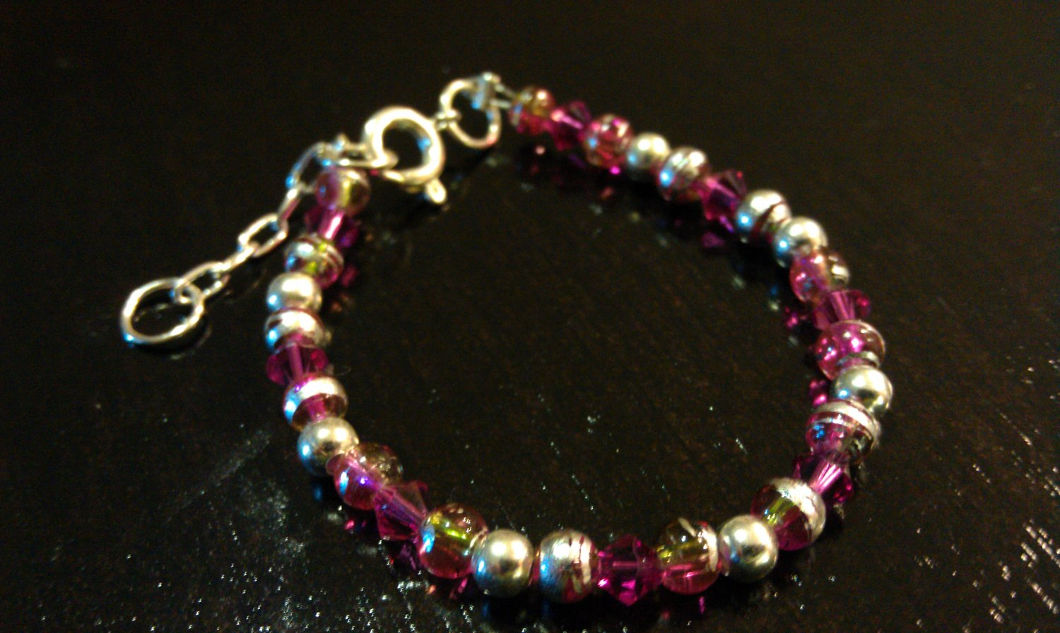 24 Months: Fuschia Czech Glass Baby & Toddler Bracelet