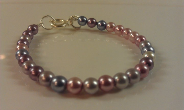 6-12 Months: Purple Haze Czech Glass Baby Bracelet