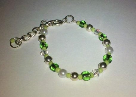 0-6 Months: Green Beads & Swarovski Crystals Baby Bracelet