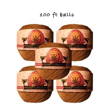 Five 100 ft Hemp 'n' Honey sharing size balls