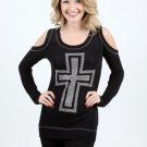 VOCAL Top Open Shoulder Sinful Cross Tattoo T-Shirt Black