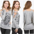 VOCAL Womens Top Open Shoulder Fleur De Lis Shirt - Grey