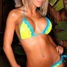 Neon Yellow Bikini with Tourquoise Trim