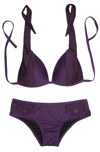 Halter Two Tone Bikini & Pocket Design Bottom (Black,Purple)
