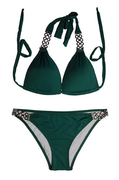2pc Designer Bikini (Black,Green)