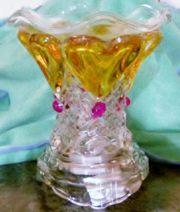 Crystal Amber Hearts Electric Oil Warmer