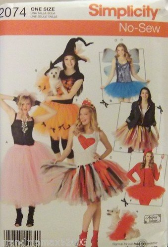 #2074 SIMPLICITY COSTUMES FOR MISSES  NO SEW PATTERN