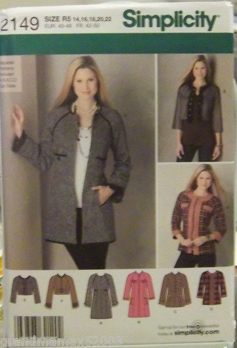 #2149 SIMPLICITY JACKETS IN THREE LENGTHS R5 PATTERN