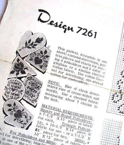 60s Oven Mitt & Potholder Cross Stitch Vintage Sewing Pattern Mail Order 7261