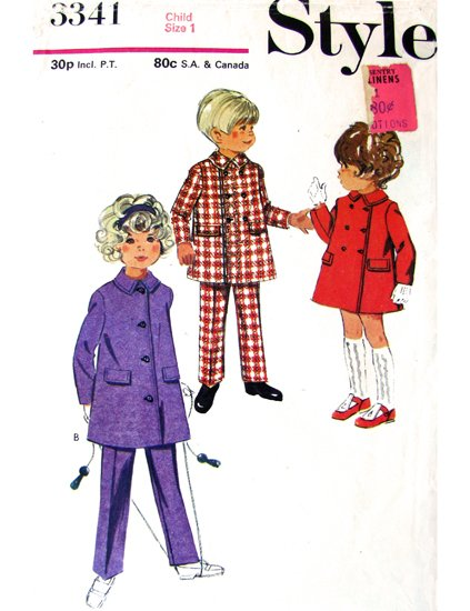 Girls 70s Lined Coat Vintage Sewing Pattern Style 3341 Size 1