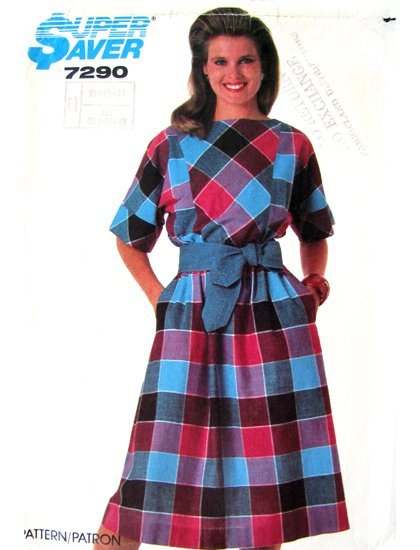 80s Pullover Dress Vintage Sewing Pattern Simplicity 7290 UNCUT Bust 32 to 36