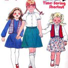 Girls Dress Blouse Skirt & Vest 80s Sewing Pattern Butterick 6608 Size 3