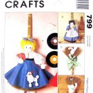 Broom Dolls Craft Sewing Pattern McCall's 8707/ 799 UNCUT Girls, Cat & Bunny