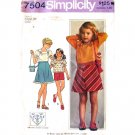 Girls 70s Peasant Blouse Skirt & Bag Vintage Sewing Pattern Simplicity 7504 Size 6