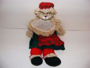CHRISTMAS RABBIT DOLL,VERY UNIQUE,CERAMIC,VERY DETAILED