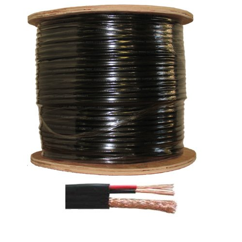 Economical RG-59/U Siamese cable. 1000 FT with Power/Video Black Color