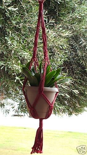 Macrame Plant Hanger 24in Vintage **Cranberry**