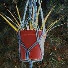 MACRAME PLANT HANGER 30in Vintage  **SKYBLUE**