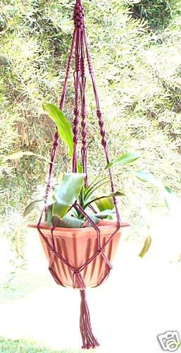 Macrame Plant Hanger 40 in vintage 4mm **CRANBERRY**