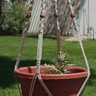 Macrame Plant Hanger 40in BEADED -WIDEPot- *PEARL*(4mm)