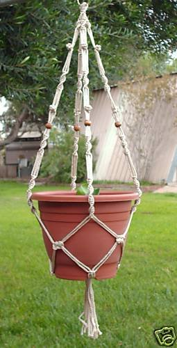 Macrame Plant Hanger 38in BEADED Button Knot**PEARL**