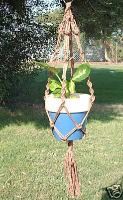 MACRAME PLANT HANGER 28in Button Knot *Cinnamon Brown*