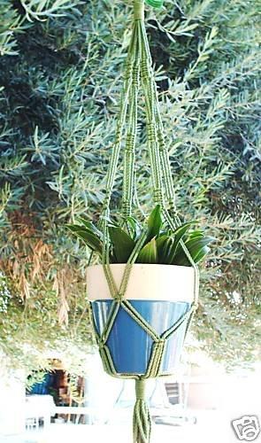 Macrame Plant Hanger 30in Vintage **Green**