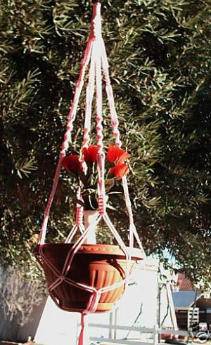 Macrame Plant Hanger Vintage 40 in *PINK* (4mm)