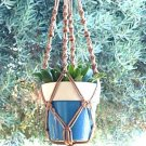 MACRAME PLANT HANGER 28in BEADED Button Knot *Cinnamon*