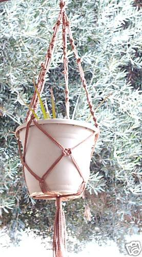 Macrame Plant Hanger 40in Button Knot **Cinnamon**