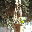 Macrame Plant Hanger 40in BEADED -WIDEPot- *SAND* (4mm)
