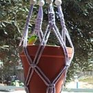 Macrame Plant Hanger 28in Vintage Beads 7mm **VIOLET**   WHITE BEADS