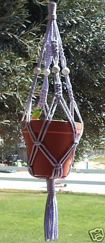 Macrame Plant Hanger 28in Vintage Beads 7mm **VIOLET**   WHITE BEADS