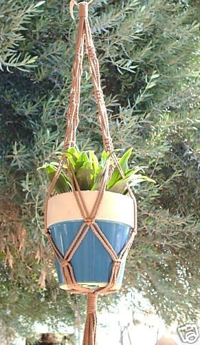 Macrame Plant Hanger 30in BEADED Vintage **Cinnamon**