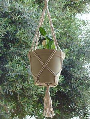 Macrame Plant Hanger 30in Vintage 4mm **PEARL**