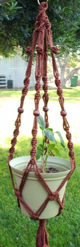 Macrame Plant Hanger 39in Button Knot with BEADS  6mm Cinnamon cord