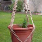 Macrame Plant Hanger 40in Vintage BEADED 7mm**SAND