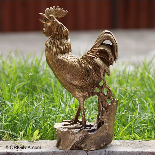 Chinese Zodiac Rooster Metal Sculpture Brass Bronze Xl1