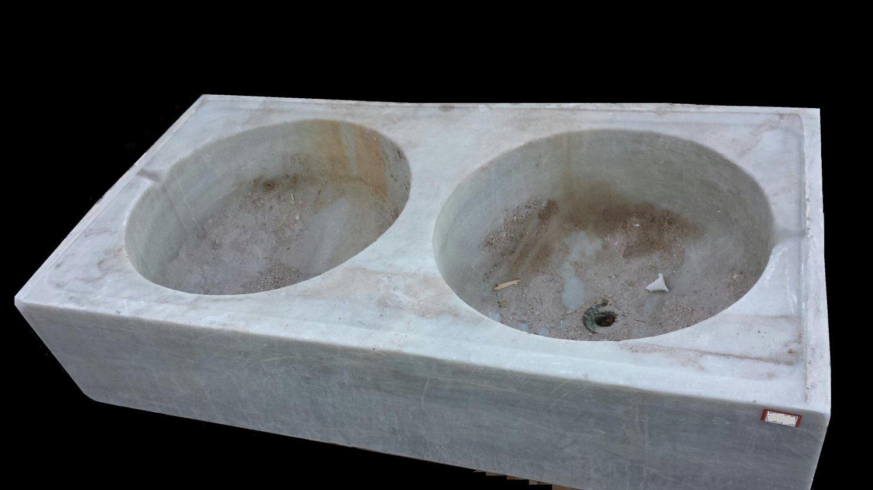 old spanish carrara marble double bowl kitchen sink. Black Bedroom Furniture Sets. Home Design Ideas