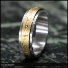 Yellow Jambhala Dzambala Mantra Tibetan Buddhist Golden Spinning Spinner Ring