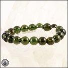 """10mm MOLDAVITE Round Beaded Bracelet Genuine Polished Beads 24.8g 6.5"""""""