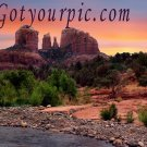 Vibrant Sedona Arizona Original Print Red Rock Crossing Cathedral Rock