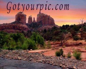 Vibrant Sedona Arizona Original Print Red Rock Crossing Cathedral Rock