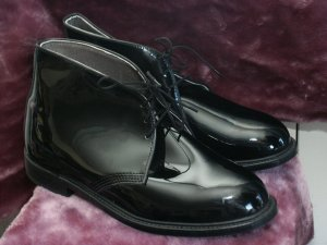 Men's 8.5 EEE Patent Formal Dress Uniform Boots-Throgood NIB