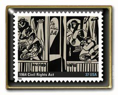 Black History  Civil Rights 1964 Act  Stamp pin lapel pins 3937g