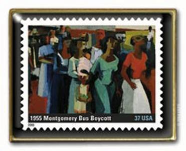 Montgomery Bus Boycott Stamp pin lapel Black History 3937e