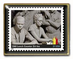 Black History Lunch Counter Sit-In Stamp pin  lapel pins 3937c S
